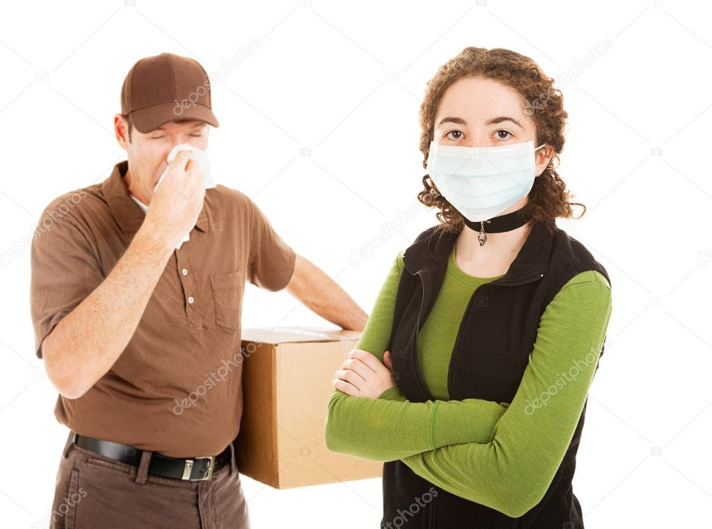 Delivery man delivers flu along with a package.  Teen girl wearing mask for protection.  Isolated. — Stock Photo #6511800