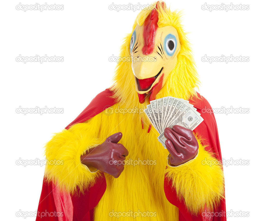 Man in a chicken suit holding money and giving a thumbs up sign.  Isolated on white. — Stock Photo #6515076