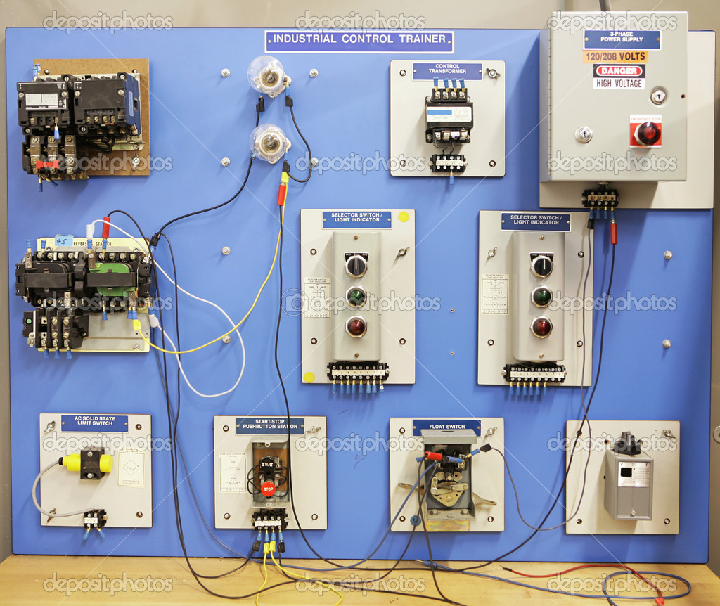 An industrial motor control training panel.  Used in adult and vocational education.    Stock Photo #6517182