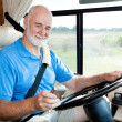 Stock Photo: RV Senior - Navigating with GPS