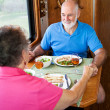 RV Seniors - Dinner Conversation — Stock Photo