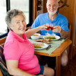 RV Seniors - Romantic Meal — Stock Photo