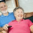 RV Seniors Amused by Television — Stock Photo