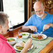 RV Seniors Enjoying Dinner — Stock Photo