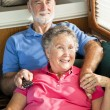 RV Seniors Watching TV — Stock Photo