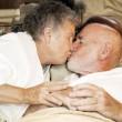 Senior Couple Goodnight Kiss — Stock Photo