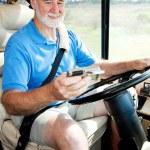 Senior Driver Using GPS — Stock Photo