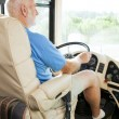 Senior Man Drives Motor Home — Stock Photo