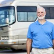Senior Man with Motor Home — Stock Photo