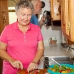 Seniors RV - Cooking — Stock Photo