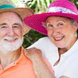 Happy Seniors in Hats — Stock Photo