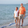 Senior Couple - Romantic Beach Stroll — Stock Photo
