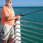 Senior Loves to Fish — Stock Photo