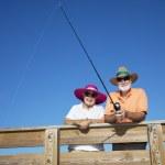Senior Tourists Fishing — Stock Photo
