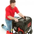 Disaster Preparedness - Checking Generator — Stock Photo