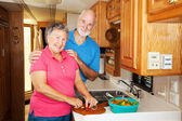 RV Seniors - Cooking Together — Stock Photo