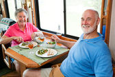 RV Seniors - Dinner for Two — Stock Photo