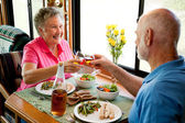 RV Seniors - Romantic Dinner — Stock Photo