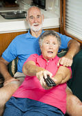 RV Seniors - Shocked by TV Content — Stock Photo