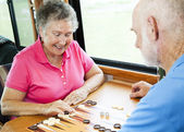RV Seniors Play Board Game — Stock Photo