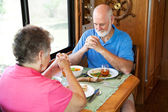 Senior Couple - Mealtime Prayer — Stock Photo