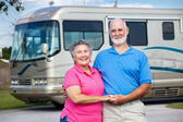 Seniors and Luxury Motor Home — Stock Photo