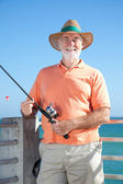 Friendly Senior Fisherman — Stock Photo