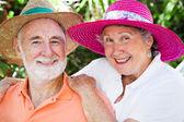Gelukkig senioren in hoeden — Stockfoto