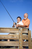 Senior Couple - Fishing Fun — Stock Photo