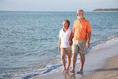 Senior Couple - Romantic Beach Stroll — Stock Photo