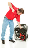 Disaster Preparedness - Starting Generator — Stock Photo