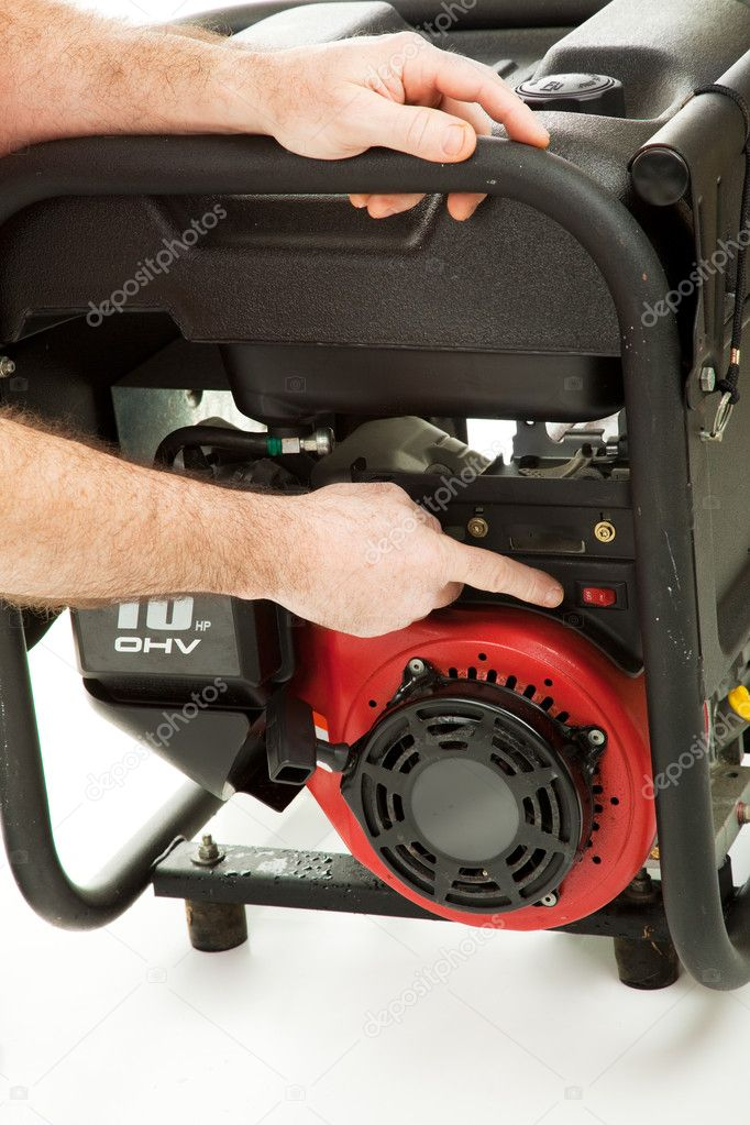 Man's hands pointing out the way to safely operate a portable emergency generator.   — Stock Photo #6555721
