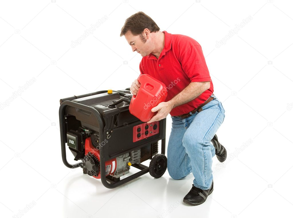 Man puts gasoline in his 10 horsepower electric generator.  Full body isolated on white.   — Stock Photo #6555724