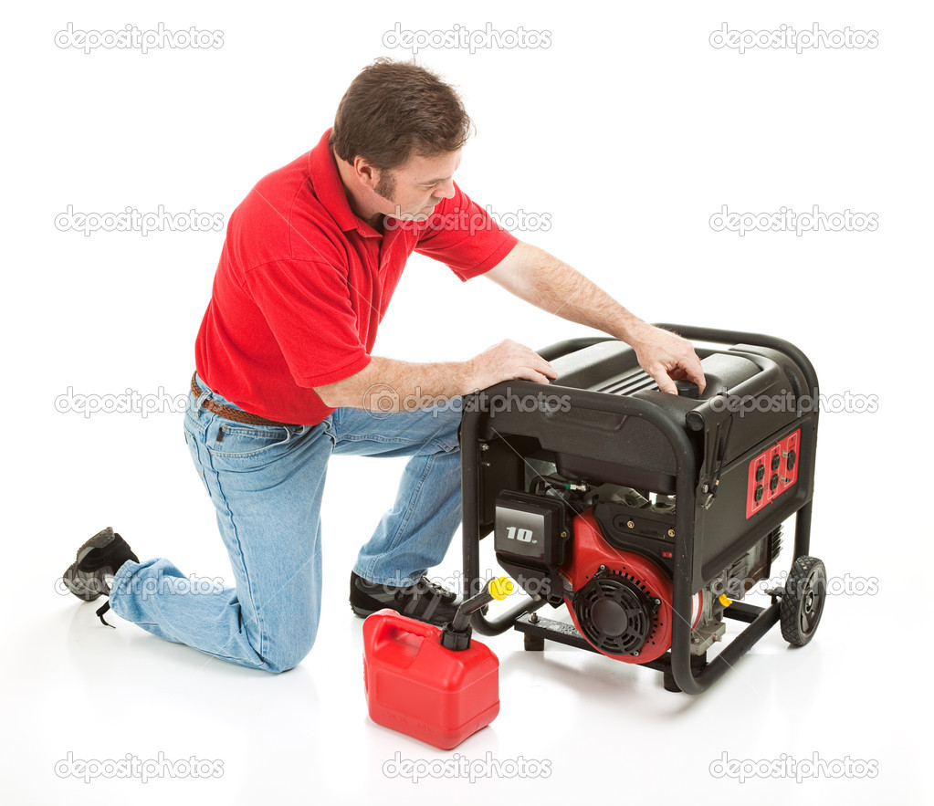 Man preparing to put gasoline in his 10 horsepower electrical generator.  Isolated on white.   — Stock Photo #6555725