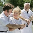 Tennis Lessons - Jealous Husband - Stock Photo