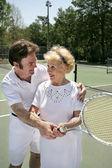Tennis Lesson Vertical — Stock Photo
