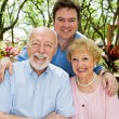 Adult Son & Elderly Parents — Stock Photo