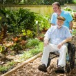Stock Photo: Disabled Senior Enjoying Garden