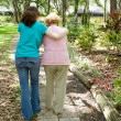 Helping Grandmother Walk — Stock Photo #6596684