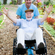Disabled Senior - Fun - Stock Photo