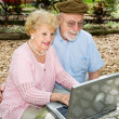 Seniors Computing Outdoors — Stock Photo