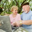 Seniors Surf The Web — Stok fotoğraf