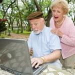 Seniors on Computer - Funny E-mail — Stock Photo
