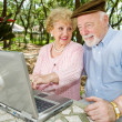 Seniors on Computer - Look Here — Stock Photo