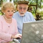Seniors on Computer - Shock — Stock Photo
