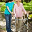 Walking with Grandma — Stock Photo