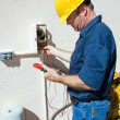 Electrician Repairing Sprinkler Pump — Stock Photo