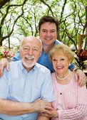 Adult Son & Elderly Parents — Stock Photo
