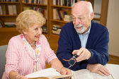 Seniors Meet in Library — Stock Photo