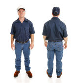 Blue Collar Man Two Views — Stock Photo
